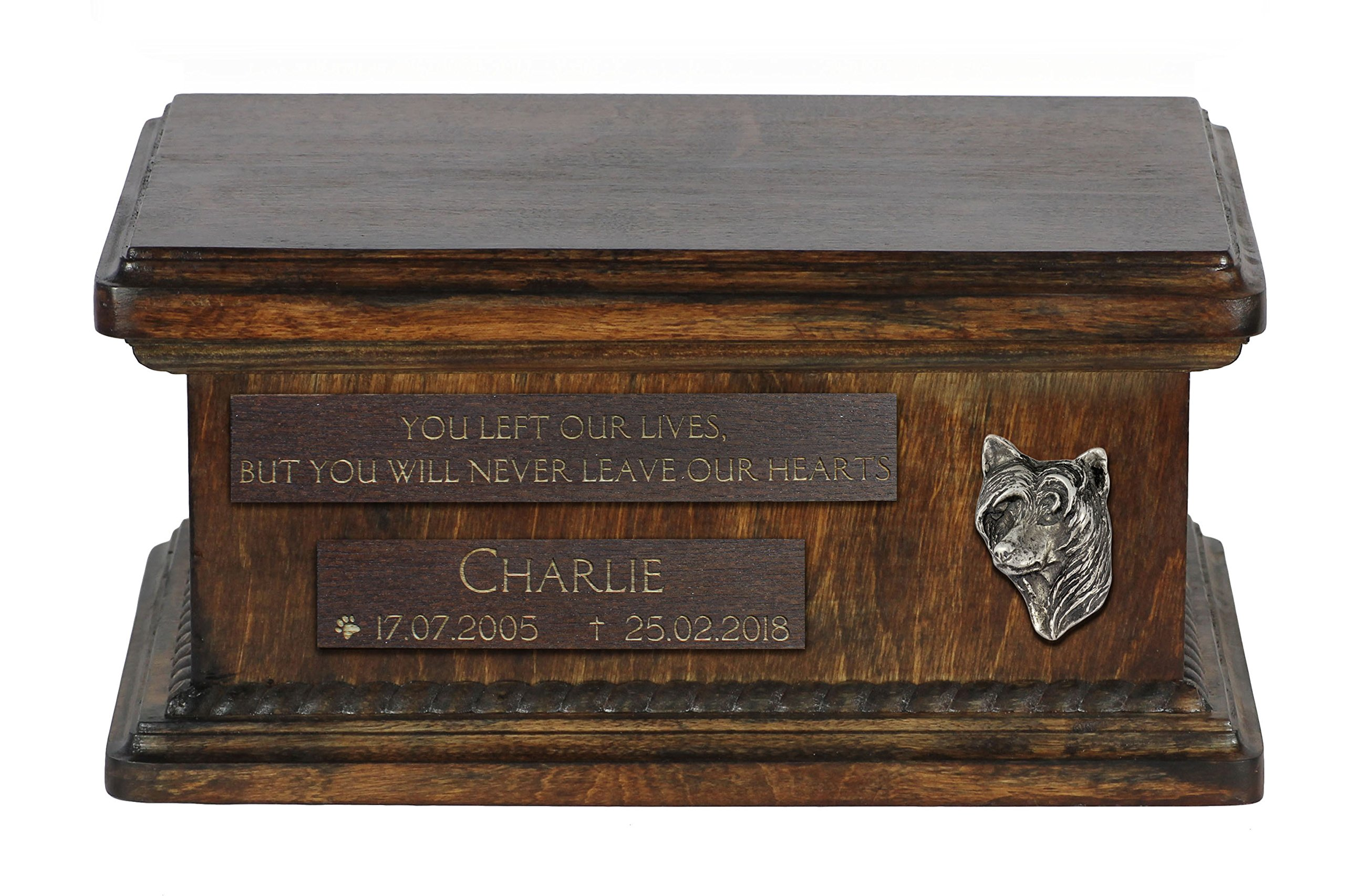 ArtDog Ltd. Chinese Crested Dog, urn for dog's ashes with relief and sentence with your dog name and date