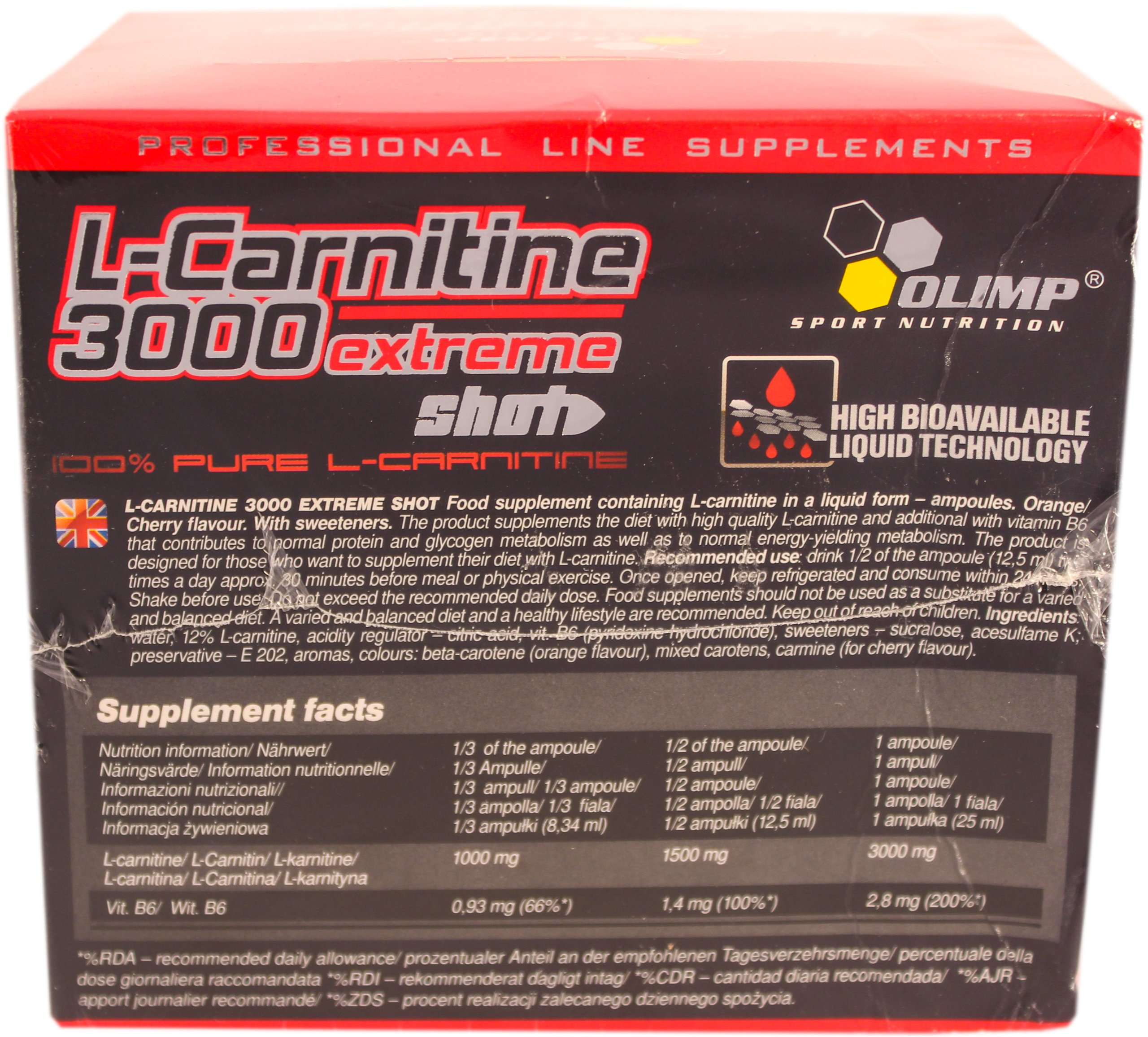Olimp Labs L-Carnitine 3000 Extreme Shots, Cherry Flavour, Pack of 20 Ampoules