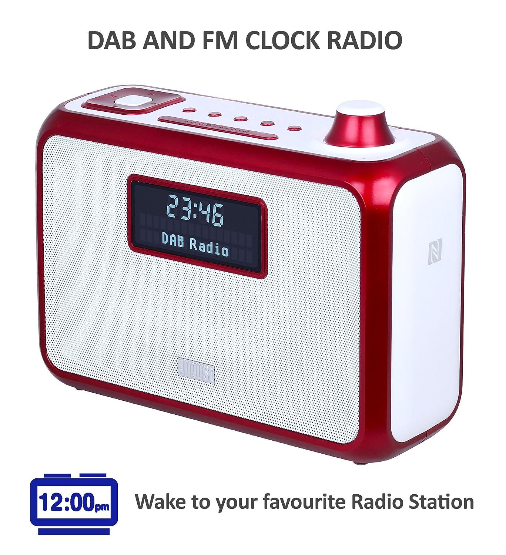 4in1 dab radio uhr wecker bluetooth lautsprecher aptx usb nfc rot ebay. Black Bedroom Furniture Sets. Home Design Ideas