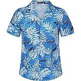 KUULEE Hombre Camisas Hawaianas Funky de Manga Corta Bolsillo Delantero Vacaciones de Verano Aloha Impreso Playa Camisa Infor