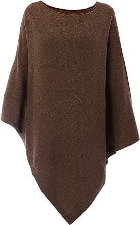 Fantasie Terrene Poncho Cashmere Donna, in Filato Misto Cashmere di Alta qualità. Made in Italy. Colore Marrone