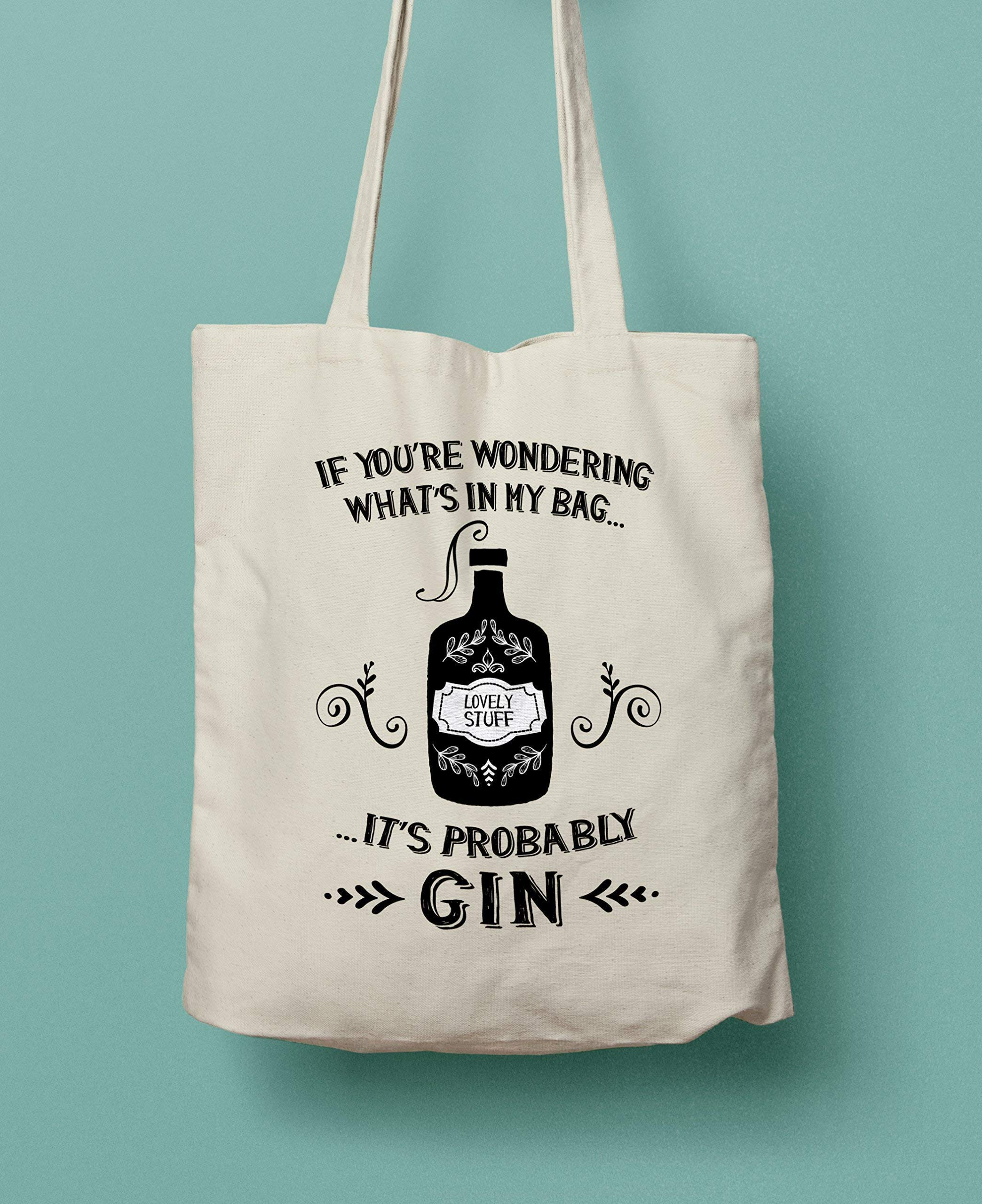 Gin Lovers Gift - Probably Gin Cotton Shopping Bag - handmade-bags
