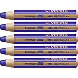 Crayon de coloriage - STABILO woody 3in1 - Lot de 5 crayons tout-terrain - Outremer