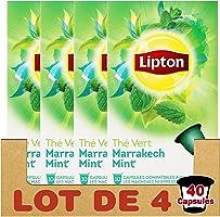 Lipton Thé Vert Marrakech Mint, Capsules Compatibles Nespresso, Label Rainforest Alliance 40 Capsules (Lot de 4x10 Capsules)