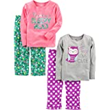 Simple Joys by Carter's 4-Piece Pajama Set (Cotton Top & Fleece Bottom) Niñas, Pack de 4