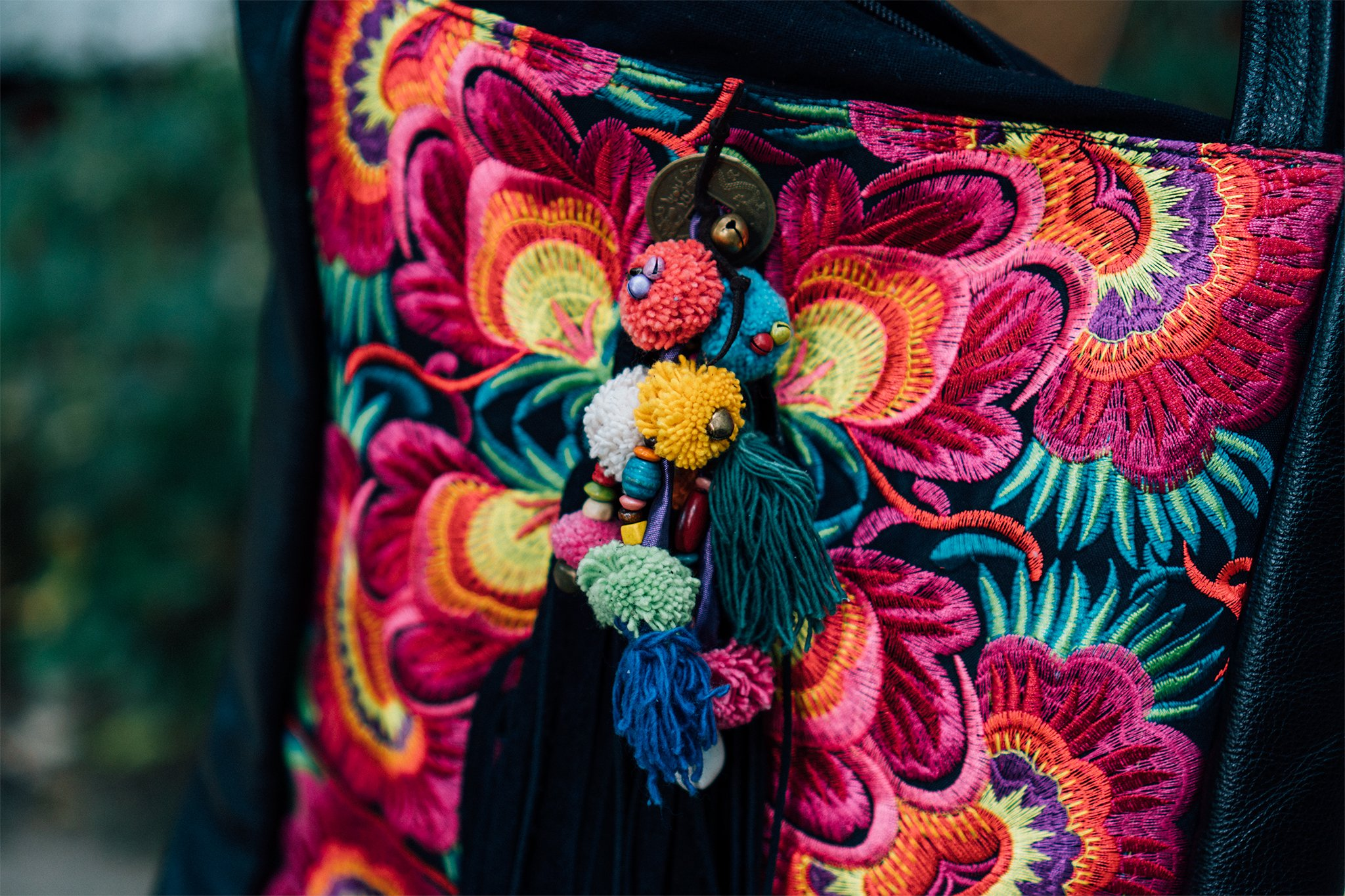 Changnoi Boho Tote Bag with Hmong Embroidered, One of a Kind Bohemian Bag, Pom Pom Shoulder Bag with Fringe - handmade-bags