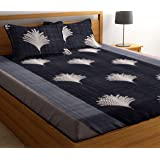 HIYANSHI HOME FURNISHING Glace Cotton King Size Double Bedsheet with 2 Pillow Covers (Grey 2)