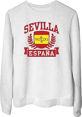T-Shirtshock Felpa Girocollo Donna Bianco DEC0440 Sevilla Espana