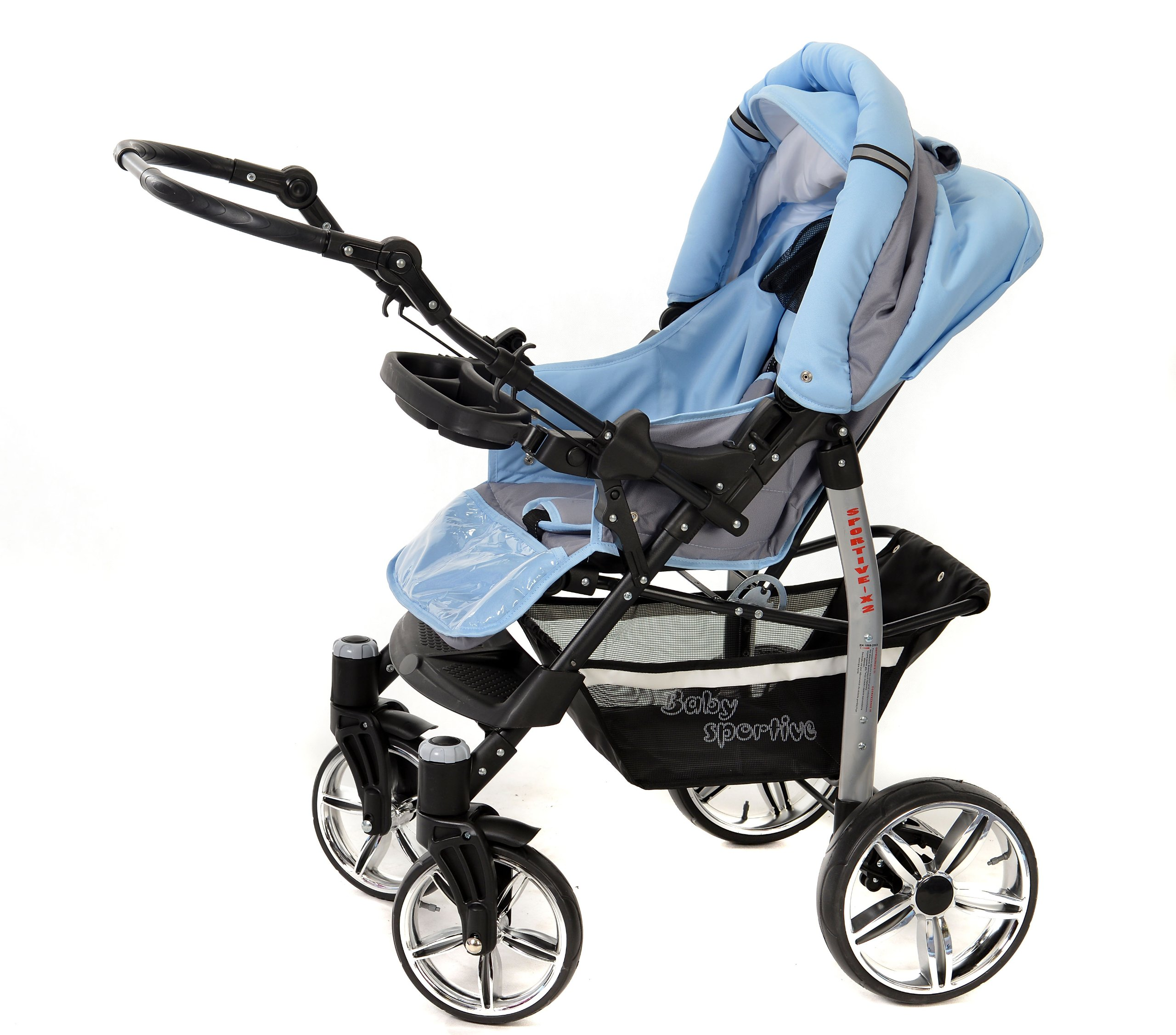 Sportive X2, 3-in-1 Travel System incl. Baby Pram with Swivel Wheels, Car Seat, Pushchair & Accessories (3-in-1 Travel System, Pale Grey & Blue)  3 in 1 Travel System All in One Set - Pram, Car Carrier Seat and Sport Buggy + Accessories: carrier bag, rain protection, mosquito net, changing mat, removable bottle holder and removable tray for your child's bits and pieces Suitable from birth, Easy Quick Folding System; Large storage basket; Turnable handle bar that allows to face or rear the drive direction; Quick release rear wheels for easy cleaning after muddy walks Front lockable 360o swivel wheels for manoeuvrability , Small sized when folded, fits into many small car trunks, Carry-cot with a removable hood, Reflective elements for better visibility 4