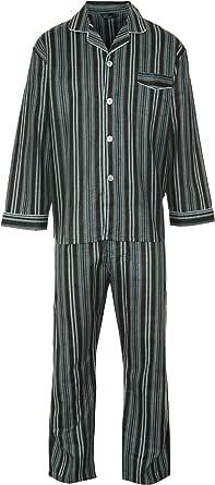 Mens Brushed Cotton Warm Traditional Pyjama Set Nightwear Flannelette Pyjamas Striped/Checks Various Pattern Design