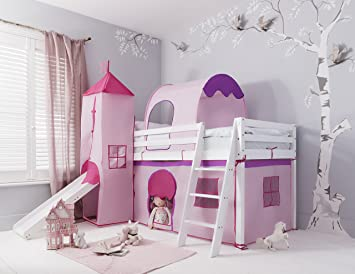Cabin Bed with Slide Kids Midsleeper in Pink Hideaway with Tent Tunnel Tower u0026 & Cabin Bed with Slide Kids Midsleeper in Pink Hideaway with Tent ...