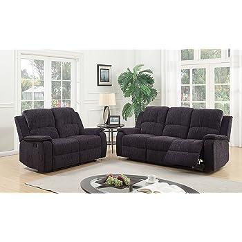 Exceptionnel SC Furniture Ltd Grey/Black Reclining Fabric Material 3 Seater Sofa + 2  Seater Sofa