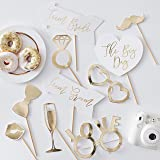 Ginger Ray Guldfolierad bröllopsfotobås rekvisita rolig dekoration 10-pack