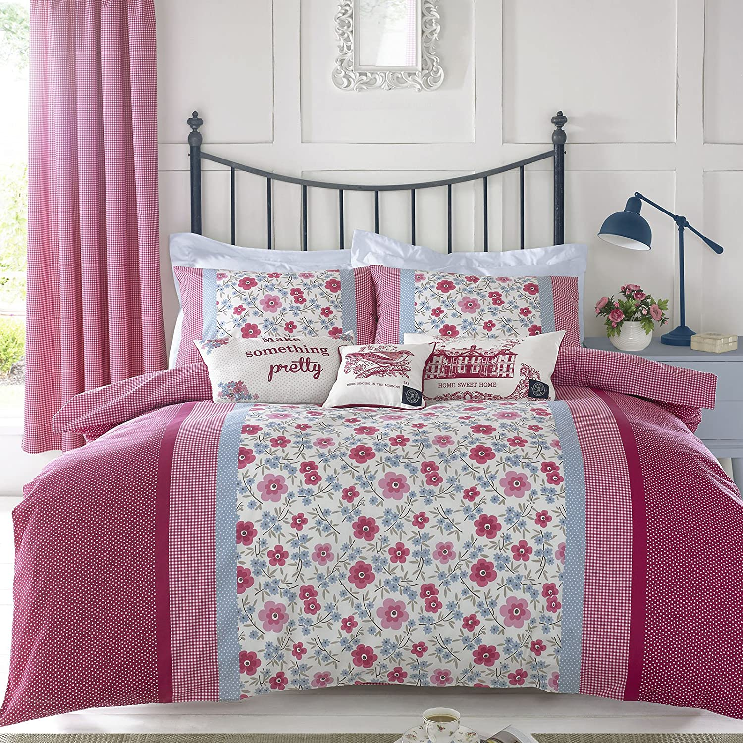 kirstie allsopp leola red  blue floral  gingham  cotton king  - kirstie allsopp leola red  blue floral  gingham  cotton king size duvetcover  pillowcases set amazoncouk kitchen  home