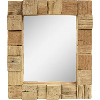 DRULINE Wandspiegel Holz Mango 50 x 70 cm Natur: Amazon.de: Küche ...