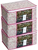 HomeStrap Non Woven Floral Saree/Clothes Cover with Transparent Window - Pack of 3 - Pink