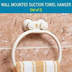 TIED RIBBONS Wall Mounted Suction ABS Cup Napkin & Towel Ring/Rod for Bathroom Kitchen wash basin(TR-Imp18-TowelHanger003, White)-Set of 2