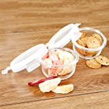 Cutting EDGE Borosilicate Safe Lock Round Glass Food Container with Lid (Set of 2, 400 ml)