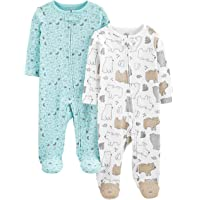 Simple Joys by Carter's Neutral 2-Pack Cotton Footed Sleep And Play Infant-And-Toddler-Bodysuit-Footies Unisex - Bimbi 0…