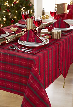 Tartan Red/Gold Christmas Table Runner With Tassels (12x72in 30x183cm  Approx)