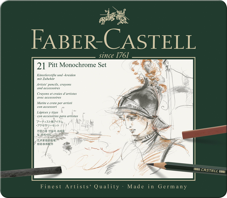 Faber-Castell 112976 – Estuche de metal con 21 piezas, surtido de carbonos, grafitos, ecolápices y tizas