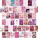 BeYumi 50 st rosa estetiska bilder för vägghalsband, 50 set 10 x 15 cm, rosigt collage trycksats, varm färg rumsdekor för fli