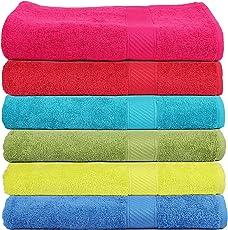 Trident 400 GSM Soft SPA Bath Towels, 60 X 120cm (Set of 6)(Multicolor)