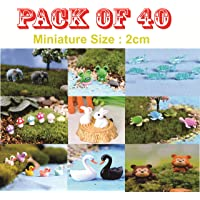 Chocozone Pack of 40 Animal Miniatures Garden Décor Items Small Animal Toys Resin Landscape Decorations