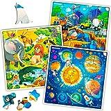 Quokka Puzzle Enfant 3 4 5 6 ans - 3 Jeux Enfant 4 ans en Bois - Puzzle 30 pièces Unique avec Animaux, Espace, Planètes, Chan