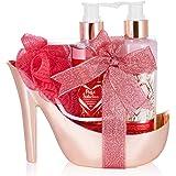 BRUBAKER Cosmetics 5-Pcs. Set Douche - Framboise Champagne - Coffret Cadeau de Soins Ensemble Cadeau en or Rosé à Talon Haut