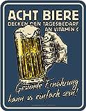 RAHMENLOS Original Blechschild für den Bier-Trinker: Gesunde Ernährung kann so einfach Sein…