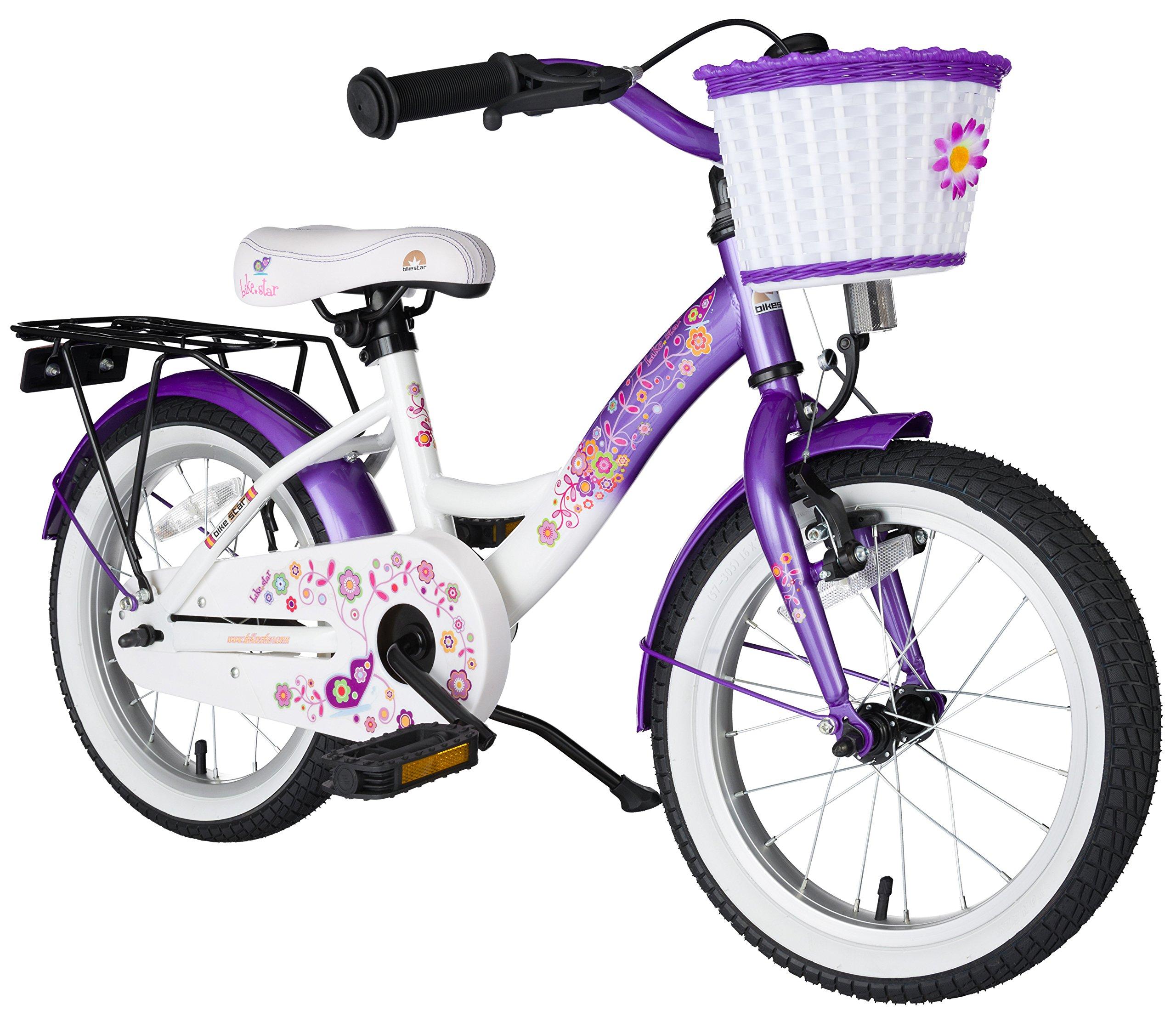 BIKESTAR® Premium Bicicletta per Bambini giù 4 anno ? Edizioni 16ª Classico ? Caramella Lilla & Diam