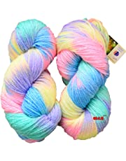 GANGA Glow Knitting Yarn Wool, Icey Pink 200 gm Woolen Crochet Yarn Thread. Best Used with Knitting Needles, Crochet Needles. Vardhman Wool Yarn for Knitting. Best Woolen Thread.