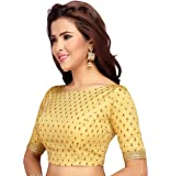 STUDIO Shringaar Traditional Golden Meena Brocade Readymade Saree Blouse With Elbow Length Sleeves