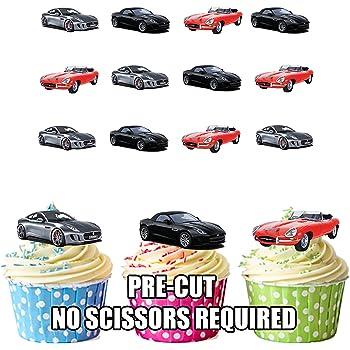 Jaguar Sports Car Mix Cake Decorations 12 Edible Wafer Cup Cake