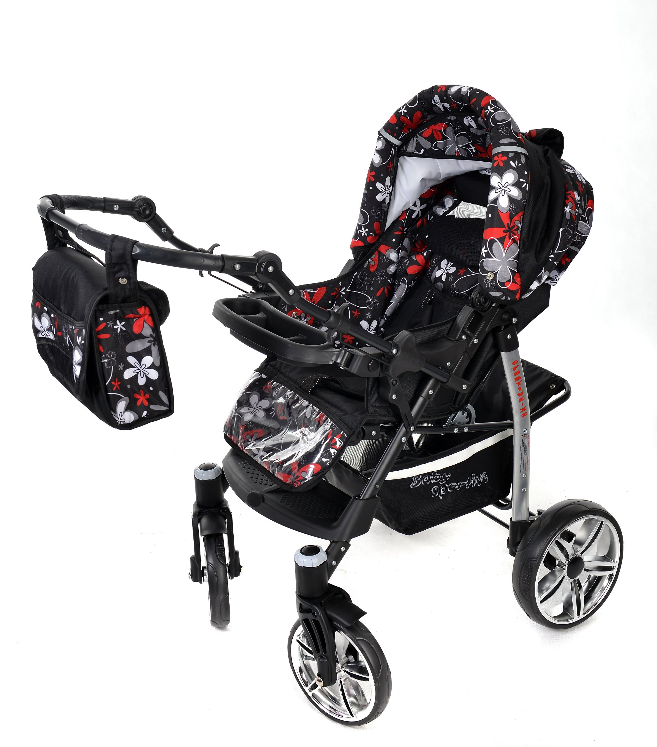 Sportive X2, 3-in-1 Travel System incl. Baby Pram with Swivel Wheels, Car Seat, Pushchair & Accessories (3-in-1 Travel System, Black & Small Flowers) Baby Sportive 3 in 1 Travel System All in One Set - Pram, Car Carrier Seat and Sport Buggy + Accessories: carrier bag, rain protection, mosquito net, changing mat, removable bottle holder and removable tray for your child's bits and pieces Suitable from birth, Easy Quick Folding System; Large storage basket; Turnable handle bar that allows to face or rear the drive direction; Quick release rear wheels for easy cleaning after muddy walks Front lockable 360o swivel wheels for manoeuvrability , Small sized when folded, fits into many small car trunks, Carry-cot with a removable hood, Reflective elements for better visibility 4