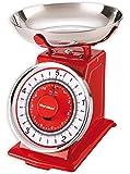 Karcher WAK 812 Mechanische Retro Küchenwaage, max. Wiegekapazität 5 kg, rot