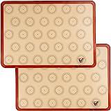 """Velesco Tapis de cuisson en silicone Macaron Set de 2 demi-feuilles (épaisses et larges 11 5/8 """"X 16 1/2"""") Doublure en silicone antiadhésif Pour moules à pâtisserie et macaron"""