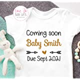 Personalised Unisex 'Coming soon' Baby Vest Bodysuit, Embroidered Design, New arrival Clothes, Bodysuit, pregnancy…