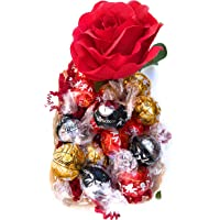 Lindor Idea Regalo Cesto - Lindt Praline Sfuse Lindor Assortito + Rosa Rossa Artificiale