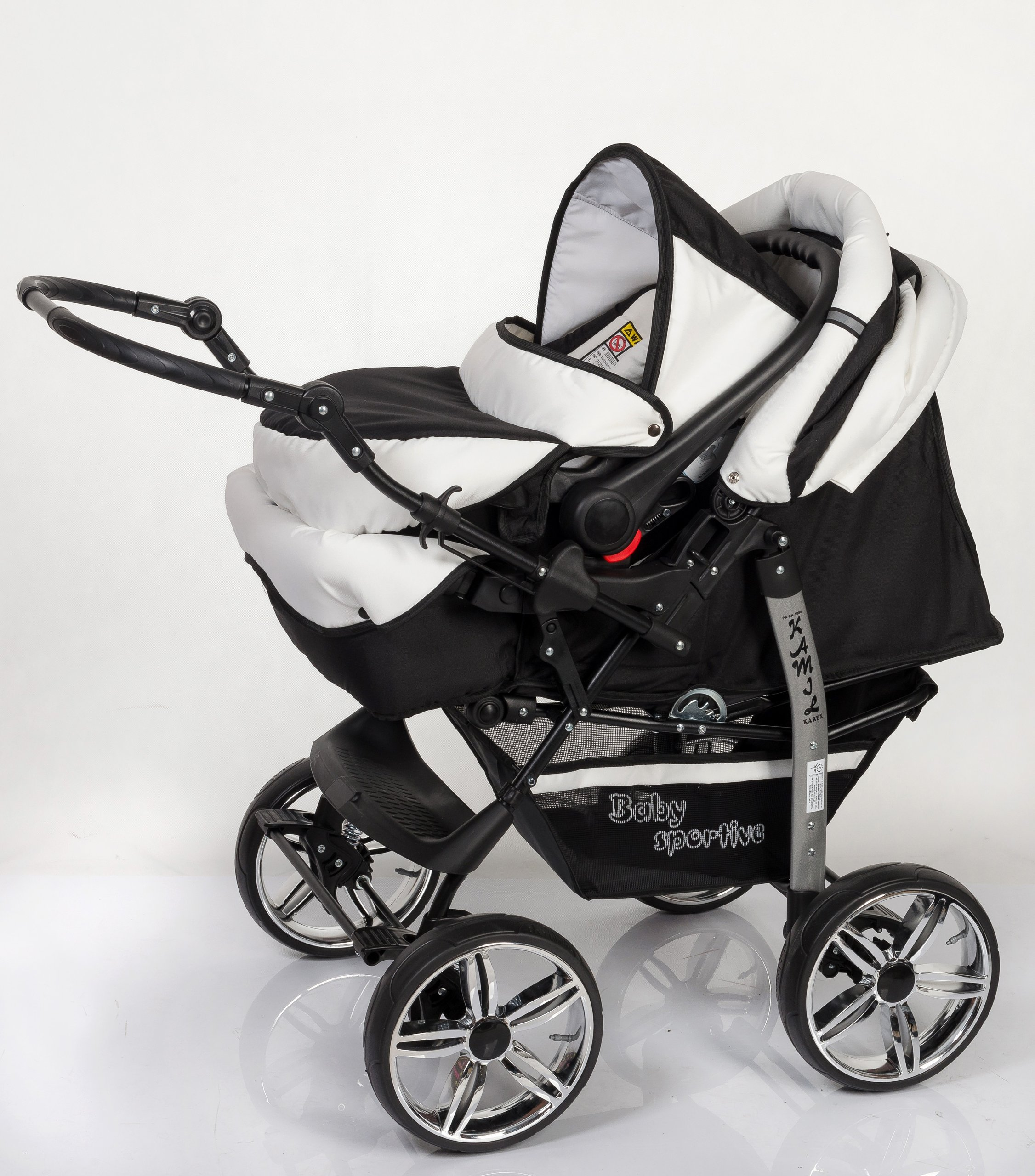 3-in-1 Travel System with Baby Pram, Car Seat, Pushchair & Accessories, Black & White   6