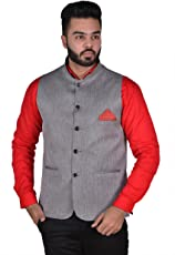 OORA HARTMANN Men's Blended Wooven Cotton Nehru and Modi Jacket Ethnic Style (Silver Dark Grey with with Silver tone ,40)