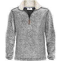 Bnokifin Men's Winter 1/4 Zip Sherpa Pullover Sweater Stand Collar Fluffy Fleece Jacket with Pockets