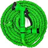 Lowmany Expandable Garden Hose Pipe + Tap Connector + Multifunction Spray Nozzle for Gardening,Car Washing,Green,Assorted Siz