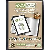 eco-eco A3 50% Recyclé 80 Pocket Couleur Noir Présentation Affichage du Livre eco068