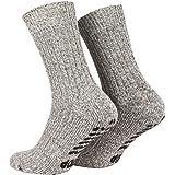 Piarini 2 paar antislipsokken met badstof zool - ABS-sokken voor dames en heren - anti-slip sokken met noppen van schapenwol