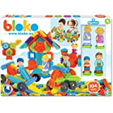 BLOKO – Coffret de 100 BIoko avec 4 Figurines 3D Famille – Dès 12 Mois - Fabriqué en Europe – Jouet de Construction 1er âge –