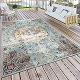 Buiten Vloerkleed Modern Oosterse Print Terrasvloerkleed Weerbestendig Turquoise, Maat:120x170 cm