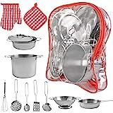 ISO TRADE Kinderkeukenset met potten en pannen speelset van roestvrij staal 9438