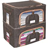 BlushBees Living Box - 600D Oxford Fabric Cloth Storage Bags, Wardrobe Organizer - 24 Litre, Pack of 2, Espresso Brown